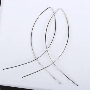 💕New 3/35 Silver Fish Hoop Threader Earrings